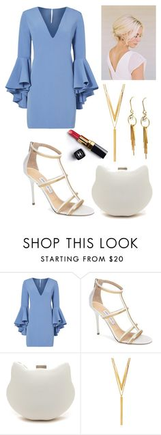 """""""blue x white x gold"""" by ammzi ❤ liked on Polyvore featuring Chanel, Milly, Jimmy Choo and BERRICLE"""