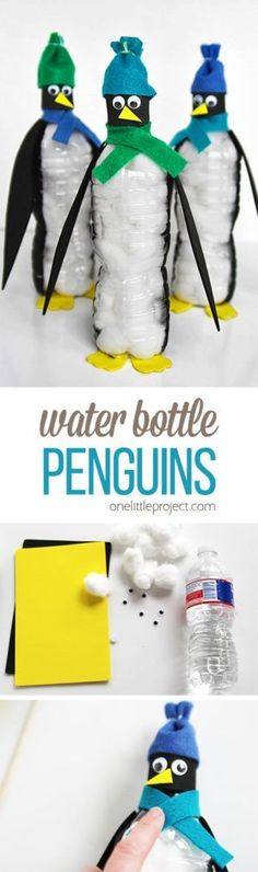 These water bottle penguins are SO CUTE and are really easy to make! What a perfect winter craft for kids that uses simple materials you probably have at home! #artsandcraftsforkidstodoathome