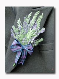BOUGHT - for the men, purple heather and Black Watch tartan ribbon -could put a eryngium(thistle) in as a vocal point as well Celtic Wedding, Our Wedding, Dream Wedding, Wedding Dreams, Bracelet Corsage, Scottish Wedding Themes, Scottish Weddings, Wedding Bouquets, Wedding Flowers