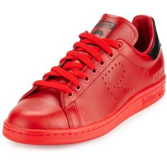 Adidas By Raf Simons Stan Smith Leather Sneaker ($400) ❤ liked on Polyvore featuring men's fashion, men's shoes, men's sneakers, red, mens red shoes, mens leather shoes, adidas mens shoes, adidas mens sneakers and mens leather lace up shoes
