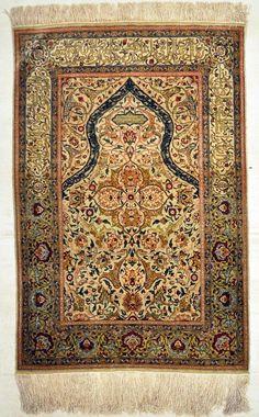 Antique Silk Hereke Turkish with Gold Thread