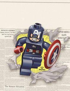 Presenting a gallery of artist Leonel Castellani's amazing LEGO variant covers from some of your favorite Marvel Comics! Marvel Vs Dc Comics, Lego Dc Comics, Films Marvel, Lego Marvel Super Heroes, Martin Freeman, Capitan America Lego, Comic Book Covers, Comic Books, Captain American