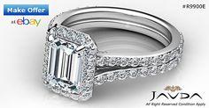 Dazzling Emerald Diamond Split Shank Engagement Ring GIA F SI1 Platinum 2.2 ct