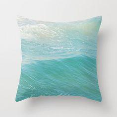 throw pillow cover, beach cottage decor, peppermint blue ocean wave, beach photo, nautical surfer home decor modern bedding, pool