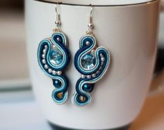 Blaue Soutache Ohrringe