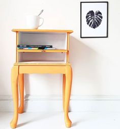 Maisies House painted this sweet side table using Chalk Paint® by Annie Sloan in Arles, a rich, glowing yellow. Showing the simplest up cycling can be the most effective. Love the yellow next to the monochrome monstera cheese plant print.