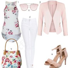 Weiß-Rosanes Frauen-Outfit mit Blumen (w0428) #outfit #style #fashion #inspiration #womenswear #womensoutfit #cloth #clothing #shirt #womensstyle #damenmode #frauenmode #mode #styling #sneaker #dress #summerstyle