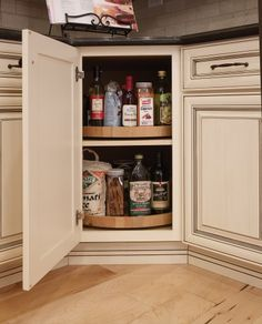 Covered Bridge Cabinetry- Two Toned French Style Kitchen Glass Front Cabinets, First Kitchen, French Country Style, Kitchen Cabinetry, Bathroom Medicine Cabinet, Liquor Cabinet, Kitchens, Gallery, Furniture