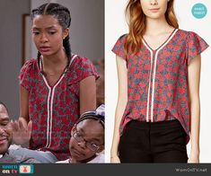 Zoey's heart print top with white trim on Black-ish.  Outfit Details: https://wornontv.net/57541/ #Blackish  Buy it at Macys: http://wornon.tv/36000