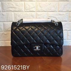 Chanel classic flap bag lambskin boack silver jumbo size