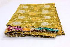 Cotton Kantha Quilt/Old Cotton Gudari/Twin Vintage Revesible Kantha Blanket/Gudari/Ralli T-27 by Rajasthanhat on Etsy