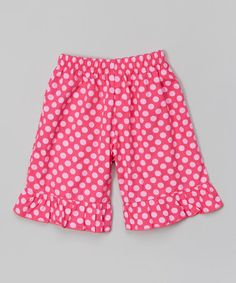 Look at this #zulilyfind! Pink Polka Dot Ruffle Shorts - Infant, Toddler & Girls #zulilyfinds