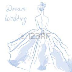 Hochzeit Einladung oder Karte mit Mädchen und Kleid Illustration