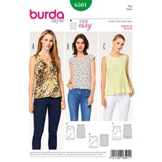 Stylish Misses' tops featuring contrasting details. View A shows off a V-neck while view B has a round neckline and sleeve bands, and a flounce adorns the hem of view C.