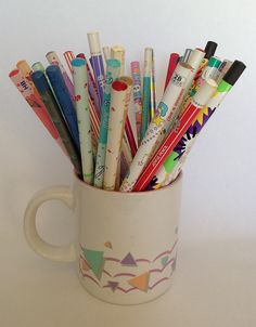 80s pencils in an 80s mug by ✎☁Iron Lace☁✎, via Flickr
