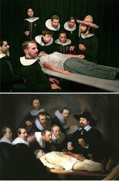 'The Anatomy Lesson of Dr. Nicolaes Tulp' by Rembrandt In their creative photo project foolsdoart, Squarespace coworkers Chris Limbrick and Francesco Fragomeni recreate classic paintings at work, u. Classic Paintings, Photo Projects, Creative Photos, Famous Artwork, Photo Series, Rembrandt, Art, Art Parody, Art Pictures