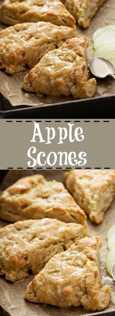 The BEST Apple Scone Recipe! Easy, simple and delicious! From The BEST Apple Scone Recipe! Easy, simple and delicious! Apple Dessert Recipes, Brunch Recipes, Fall Recipes, Sweet Recipes, Scone Recipes, Scone Recipe Easy, Apple Baking Recipes, Desserts With Apples, Tea Scones Recipe