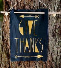Give Thanks Leather Banner