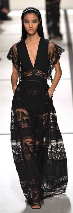A Race For Lace! Designer Black Lace Dress LBD Gown Elie Saab Spring 2014 Ready to Wear