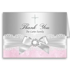 Pink Lace & Cross Baptism Thank You Card Greeting Cards
