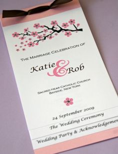 Cherry Blossom Wedding Invitation (pink) | Cherry Blossoms, Cherries And  Weddings