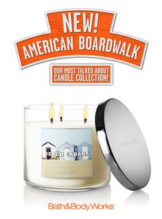 NEW Beach Cabana 3-Wick Candle – sweet jasmine, orange blossom and a hint of musk <3   #AmericanBoardwalk