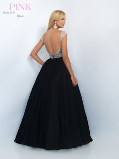 #BLUSHPROM #PROM #5511 Blush Prom - 5511. Available in Black. Polished gown featuring capsleeves, a natural waisted bodice embellished with crystals and sequins, and a voluminous full tulle skirt.