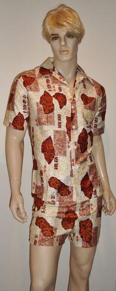 afaae5d004 Vintage NOS 1960's 1970's Jantzen Hawaiian 2 Piece Shirt Swim Trunks Shorts  Cabana Set M 34