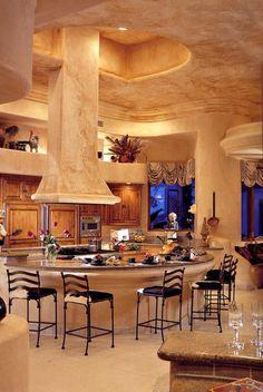 Luxury Kitchens | Luxury Home | Tuscan Interior | Circular Bar | Marble Furnishings | Residential Real Estate | Denver Colorado | Usaj Realty