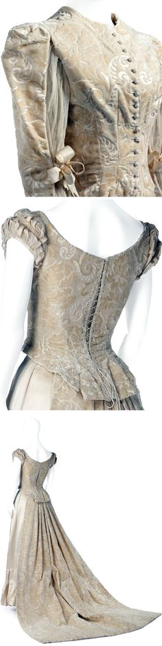 Trousseau dress with petticoat, 1886. Two bodices, one long-sleeved for day and one short-sleeved for evening. Evening bodice has lattice sleeves of cream-colored patterned silk velvet; day bodice is of cut and uncut silk velvet and silk satin, form-fitting and with a lace back, with long puffed sleeves with bows. Skirt of cream-colored silk satin, ruffled hem, reinforced lining with lace hem. Train of cream-colored cut and uncut silk velvet, pleated top. Hallwyl Museum, Sweden