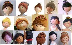 fondant hair tutorial - Google Search Clay Art Projects, Polymer Clay Projects, Clay Crafts, Polymer Clay People, Fimo Polymer Clay, Doll Head, Doll Face, Fondant Hair, Clothespin Dolls