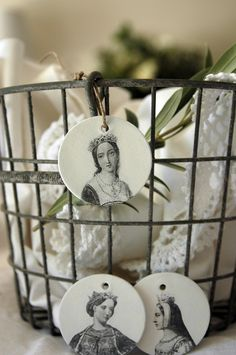 French Princesses Clay Tags - Set of Three