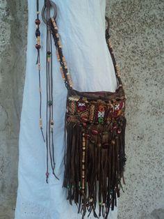 VEGAN Handmade Boho Fringe Purse Cross Body Hippie Brown Bag Gypsy Beaded tmyers #Handmade #MessengerCrossBody