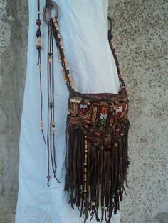 VEGAN Handmade Boho Fringe Purse Cross Body Hippie Brown Bag Gypsy Beaded tmyers