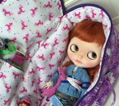 Travel Bag Sleeping Protective Doll Case Blythe Littlefee Handmade 1/6 Bjd Dal Pullip Purple Unicorn