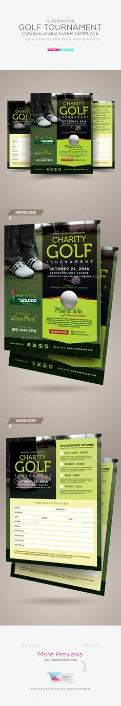 double sided brochure template - golf tournament event poster or flyer sports events