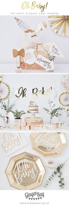 The most elegant gender neutral baby shower ever seen! With gold finishing and greenery, it'll be the most talked about baby shower. The gold foiling will make for a sophisticated baby shower that the mummy to be will love! Deco Baby Shower, Bebe Shower, Baby Shower Parties, Baby Shower Themes, Baby Boy Shower, Rustic Baby Shower Decor, Shower Ideas, Baby Shower Decorations Neutral, Baby Party