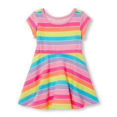 Toddler Girls Short Sleeve Neon Rainbow Stripe Dress