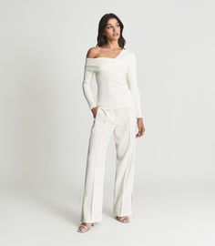 Eliah Cream Knitted Asymmetric Top – REISS Asymmetrical Tops, Reiss, S Models, Work Wear, Slim, Long Sleeve, Skirts, Sleeves, How To Wear