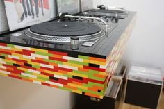 Check out this awesome Lego Style DJ Table with Turntable and other cool DJ setup and booth. Cabine Do Dj, Design Lego, Dj Table, Lego Table, Lego Desk, Dj Stand, Dj Decks, Lego Furniture, Dj Setup