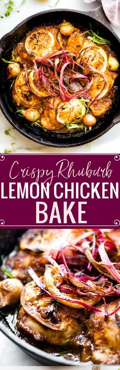 Crispy Rhubarb Lemon Chicken Bake! No boring chicken here ya'll! A tangy rhubarb marinade caramelizes the lemon chicken while baking. Then it's topped with crispy rhubarb shavings!  www.cottercrunch.com A Paleo friendly simple dinner!