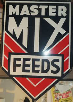 """Master Mix Feeds Vintage Advertising Porcelain Farm Agriculture Sign. 28x40"""" Near Mint."""