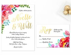 Gold and Floral Wedding Invitation Watercolor by AlexaNelsonPrints