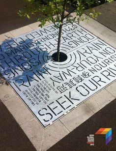 urban typographical tree grates, Heine Jones.