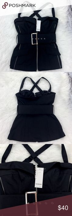 """💕SALE💕Bebe Black Bustier Crisscross Top Fabulous 💕NWT Bebe Black Bustier Crisscross Top Adjustable Straps, Belted, non slip 18"""" from top of Chest to bottom 27"""" waist 98% Cotton 2% Spandex bebe Tops"""