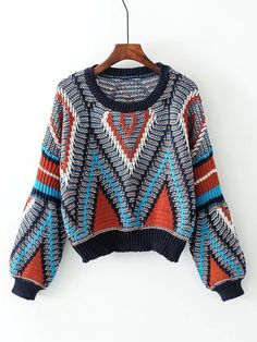 03ec0709b4a474 Geometric Pattern Loose Sweater -SheIn(Sheinside) Pulls Larges