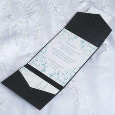 Motifs Bleus Faire Part Mariage Poche Style JM606 faire part de mariage pas cher, sur mesure - joyeuxmariage.fr