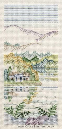 Bracken Cottages Blackwork Kit from Derwentwater Designs