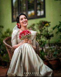 Christian Wedding Sarees, Christian Bride, Bridal Silk Saree, Saree Wedding, Wedding Dresses, Saree Collection, Bridal Collection, Kerala Bride, Indian Bridal Wear