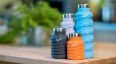 queFactory is raising funds for que Bottle: The Fashionable & Collapsible Travel Bottle on Kickstarter! The only bottle that fits in your bag and matches your style. Unique spiral design shrinks the bottle without sacrificing good looks. Travel Water Bottle, Travel Bottles, Drink Bottles, Cool Water Bottles, Alcohol Bottles, Que Bottle, Materiel Camping, Collapsible Water Bottle, Reusable Water Bottles